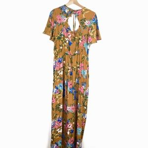 Band of Gypsies Long Floral Jumpsuit w/ Pockets L